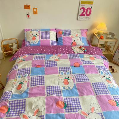 2020新款全棉13070开学季四件套 1.5m床单款四件套 紫格兔兔