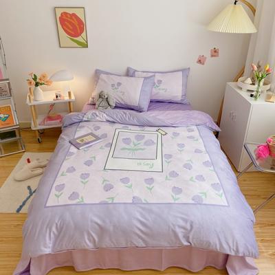 2020新款牛奶绒系列四件套 1.2m床单款三件套 紫色郁金香