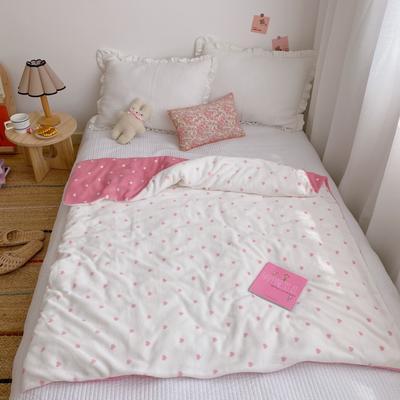 2020新款双层宝宝绒盖毯被 150x200cm 爱心粉