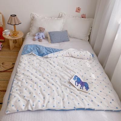 2020新款双层宝宝绒盖毯被 150x200cm 爱心蓝