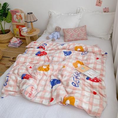 2020新款双层宝宝绒盖毯被 150x200cm 草莓格子