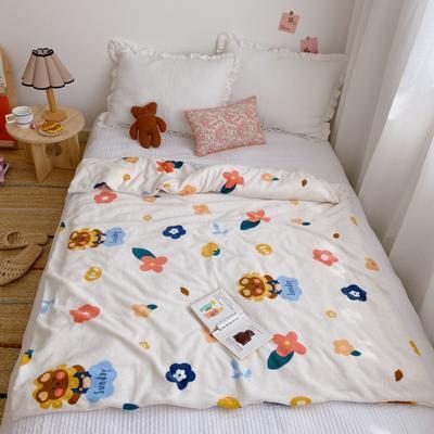 2020新款双层宝宝绒盖毯被 150x200cm 小熊花花