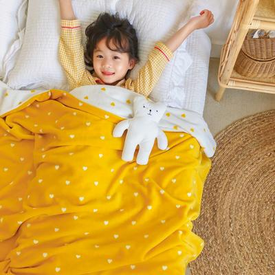 2020新款双层宝宝绒盖毯被-模特图 150x200cm 爱心黄