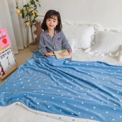 2020新款双层宝宝绒盖毯被-模特图 150x200cm 爱心蓝