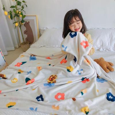 2020新款双层宝宝绒盖毯被-模特图 150x200cm 小熊花花