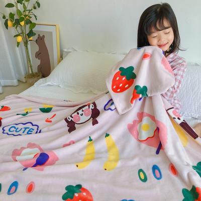 2020新款双层宝宝绒盖毯被-模特图 150x200cm 元气少女