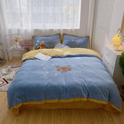 2020新款关于小熊牛奶绒刺绣四件套 1.2m床单款三件套 呆呆熊蓝