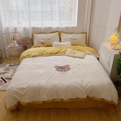 2020新款关于小熊牛奶绒刺绣四件套 1.2m床单款三件套 呆呆熊米