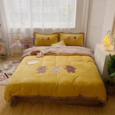 2020新款关于小熊牛奶绒刺绣四件套 1.2m床单款三件套 三只熊黄