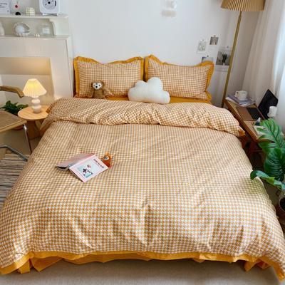 2021新款千鸟格刺绣13372全棉系列四件套 1.8m床单款四件套 千鸟格·黄