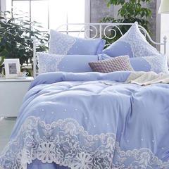 天丝提花A版73.2%莫代尔 26.8%棉 B版60长绒棉 1.5m(5英尺)床 菲丽丝-蓝