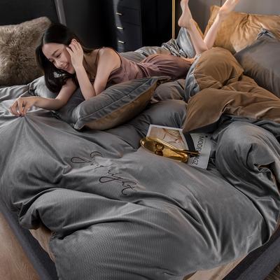 总链接:2019年秋冬新款宝宝绒雕花绣花款保暖四件套 1.2m床单款三件套 晚安系-古典灰
