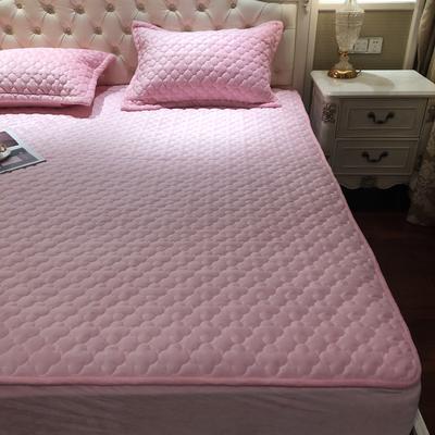 【实拍图】2019年秋冬法莱绒单床垫新品水晶绒夹棉床笠三件套 枕套一对 胭脂粉