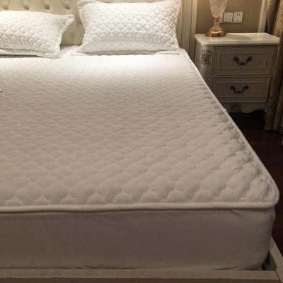 【实拍图】2019年秋冬法莱绒单床垫新品水晶绒夹棉床笠三件套 枕套一对 珍珠白