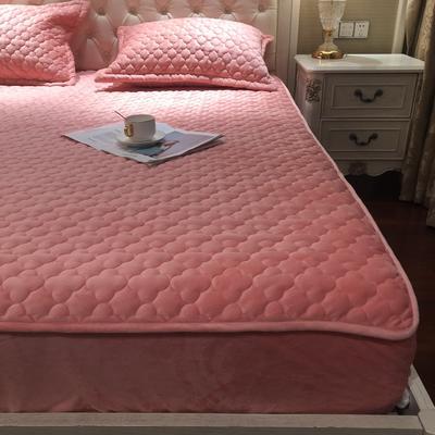 【实拍图】2019年秋冬法莱绒单床垫新品水晶绒夹棉床笠三件套 枕套一对 芙蓉玉