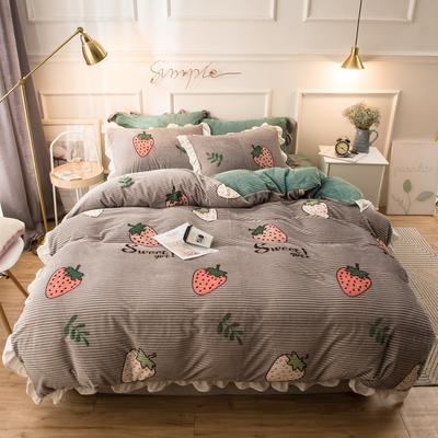 2019新款魔法绒印花四件套 1.2m床单款三件套 草莓多多