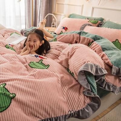 2019新款魔法绒印花四件套 1.2m床单款三件套 青蛙宝宝