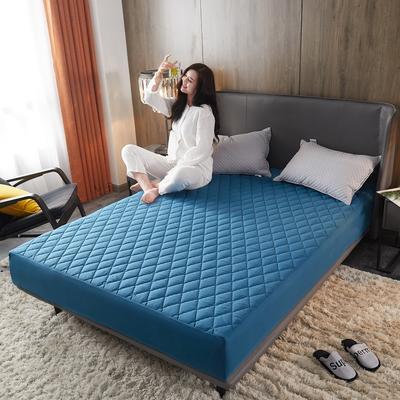 2020年新款超声波磨毛夹棉防水隔尿床笠--素色款 150cmx200cm 幽梦蓝