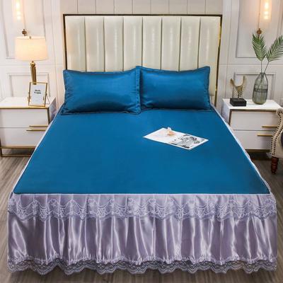 2020新款一体式床裙凉席三件套 120*200cm 宝石蓝