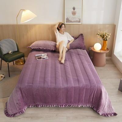 2020秋冬新品韩式风水晶绒保暖夹棉床盖 150cmx200cm 韩式床盖-豆沙紫