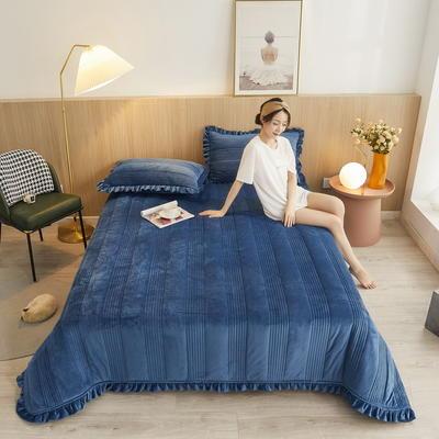 2020秋冬新品韩式风水晶绒保暖夹棉床盖 200cmx230cm 韩式床盖-高贵蓝