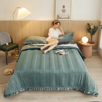 2020秋冬丽芙新品韩式风水晶绒保暖夹棉床盖 90cmx200cm(直边包边) 韩式床盖-墨绿