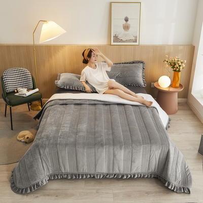 2020秋冬新品韩式风水晶绒保暖夹棉床盖 200cmx230cm 韩式床盖-神秘灰