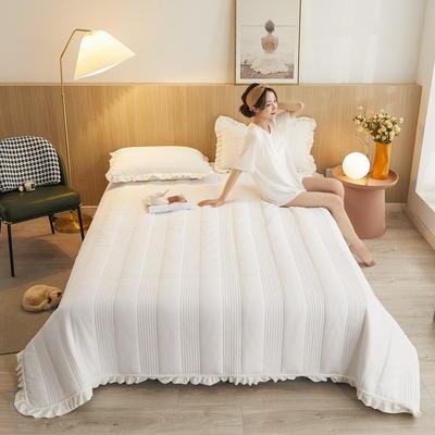 2020秋冬新品韩式风水晶绒保暖夹棉床盖 200cmx230cm 韩式床盖-珍珠白