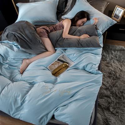 2020新款宝宝绒雕花绣花工艺款保暖四件套 1.5m床单款四件套 晚安系-天空蓝