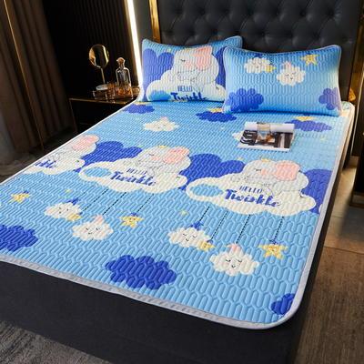 (总)丽芙2021凉感丝乳胶凉席三件套冰丝凉席床单款-场景一 180*200cm三件套 云朵象-床单席