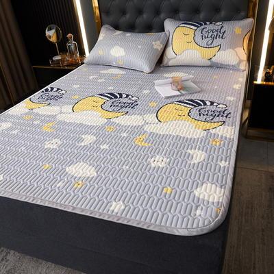 (总)丽芙2021凉感丝乳胶凉席三件套冰丝凉席床单款-场景一 180*200cm三件套 月亮宝宝-床单席