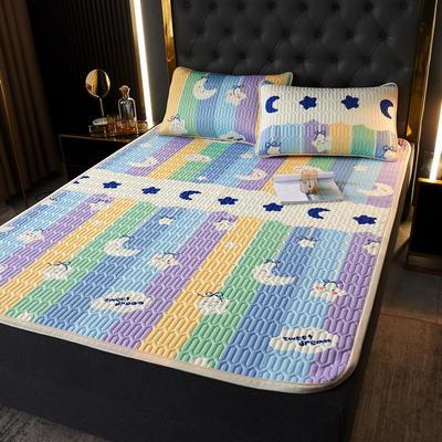 (总)丽芙2021凉感丝乳胶凉席三件套冰丝凉席床单款-场景一 180*200cm三件套 彩虹漾-床单席