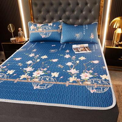 (总)丽芙2021凉感丝乳胶凉席三件套冰丝凉席床单款-场景一 180*200cm三件套 花研-床单席
