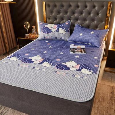 (总)丽芙2021凉感丝乳胶凉席三件套冰丝凉席床单款-场景一 180*200cm三件套 酣睡熊-床单席