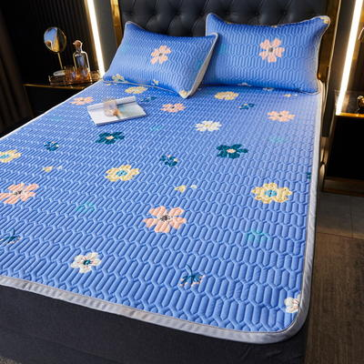 (总)丽芙2021凉感丝乳胶凉席三件套冰丝凉席床单款-场景一 180*200cm三件套 泫雅花-浅蓝-床单席
