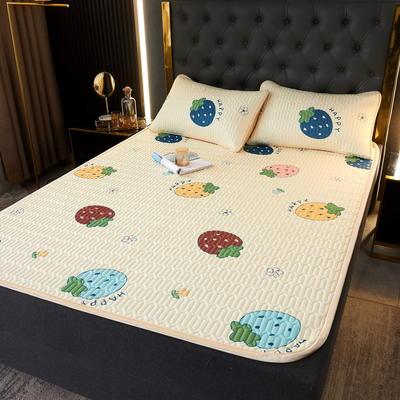 (总)丽芙2021凉感丝乳胶凉席三件套冰丝凉席床单款-场景一 180*200cm三件套 多彩草莓-床单席