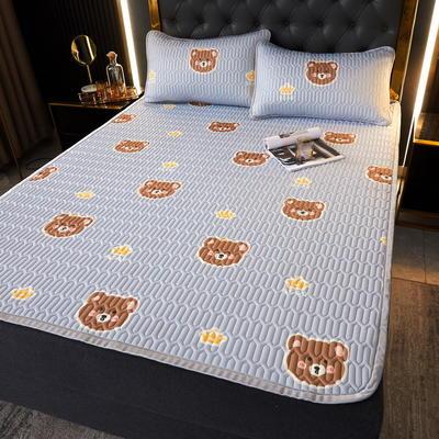 (总)丽芙2021凉感丝乳胶凉席三件套冰丝凉席床单款-场景一 180*200cm三件套 笨蛋熊-床单席