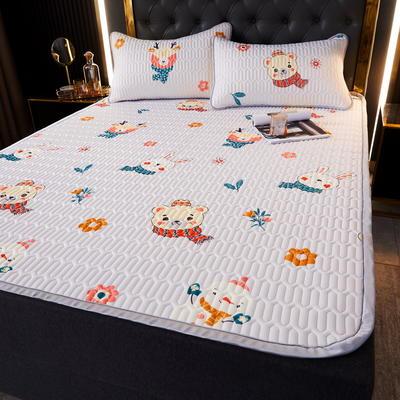 (总)丽芙2021凉感丝乳胶凉席三件套冰丝凉席床单款-场景一 180*200cm三件套 呆熊萌兔-床单席