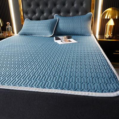 (总)丽芙2021凉感丝乳胶凉席三件套冰丝凉席床单款-场景一 120*200cm两件套 典雅蓝 -床单席