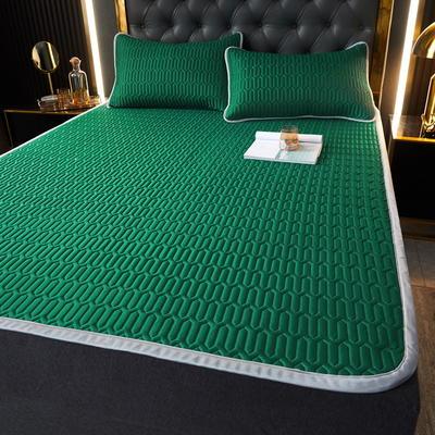 (总)丽芙2021凉感丝乳胶凉席三件套冰丝凉席床单款-场景一 180*200cm三件套 墨绿-床单席