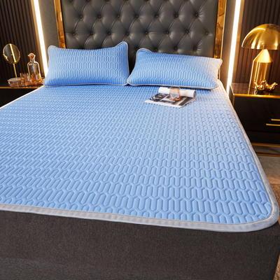 (总)丽芙2021凉感丝乳胶凉席三件套冰丝凉席床单款-场景一 180*200cm三件套 天真蓝-床单席