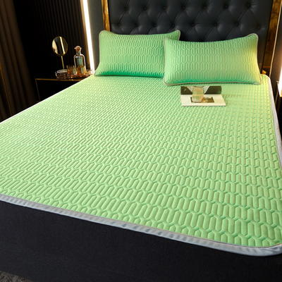 (总)丽芙2021凉感丝乳胶凉席三件套冰丝凉席床单款-场景一 180*200cm三件套 清柠绿-床单席
