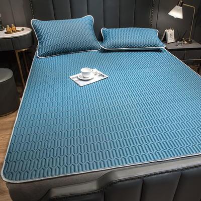 (总)丽芙2021凉感丝乳胶凉席三件套冰丝凉席床单款-场景二 120*200cm两件套 典雅蓝-床单席