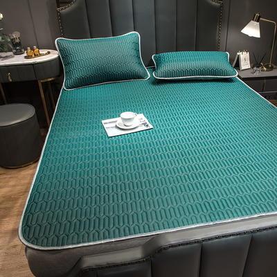 (总)丽芙2021凉感丝乳胶凉席三件套冰丝凉席床单款-场景二 180*200cm三件套 墨绿-床单席