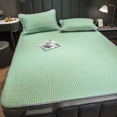 (总)丽芙2021凉感丝乳胶凉席三件套冰丝凉席床单款-场景二 180*200cm三件套 清柠绿-床单席