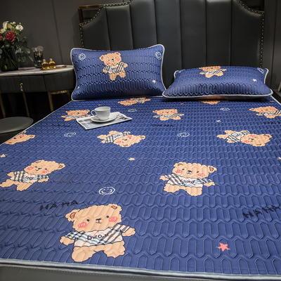 (总)丽芙2021凉感丝乳胶凉席三件套冰丝凉席床单款-场景二 120*200cm两件套 宝莉熊-床单席