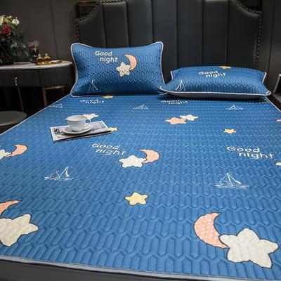 (总)丽芙2021凉感丝乳胶凉席三件套冰丝凉席床单款-场景二 150*200cm三件套 星月神话-床单席
