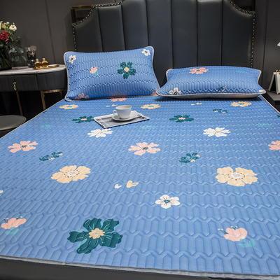(总)丽芙2021凉感丝乳胶凉席三件套冰丝凉席床单款-场景二 180*200cm三件套 泫雅花-浅蓝 -床单席