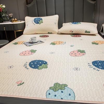 (总)丽芙2021凉感丝乳胶凉席三件套冰丝凉席床单款-场景二 180*200cm三件套 多彩草莓-床单席
