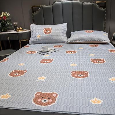 (总)丽芙2021凉感丝乳胶凉席三件套冰丝凉席床单款-场景二 180*200cm三件套 笨蛋熊-床单席